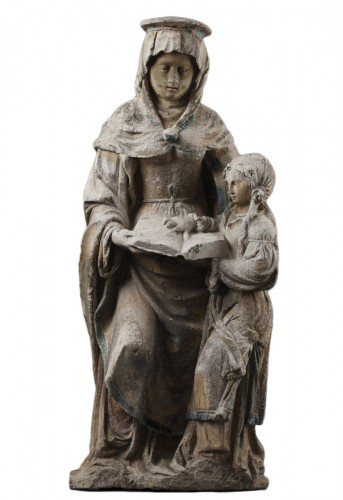 The Virgin Education. Carved stone group, East of France before 1550