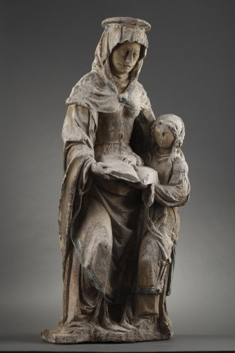 The Virgin Education. Carved stone group, East of France before 1550 - Sculpture Style Renaissance