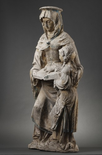 Sculpture  - The Virgin Education. Carved stone group, East of France before 1550