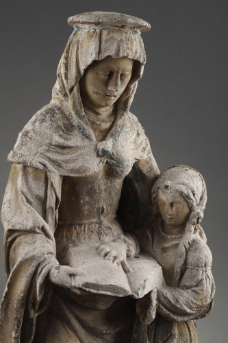 The Virgin Education. Carved stone group, East of France before 1550 -