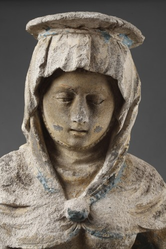 16th century - The Virgin Education. Carved stone group, East of France before 1550