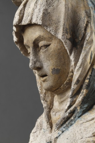 The Virgin Education. Carved stone group, East of France before 1550 - Renaissance