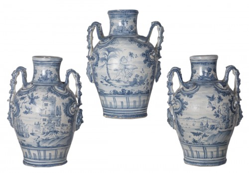 Series of three earthenware vases - Savona circa 1700
