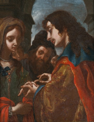 The wedding of Tobit and Sara - Attributed to Jacopo Vignali (1592 - 1664) - Paintings & Drawings Style