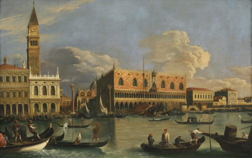 Veduta of Venice Molo – Canaletto School – Late 18th century  - Paintings & Drawings Style