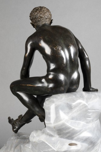 Hermès seated after Antiquity - bronze circa 1890 - Sculpture Style