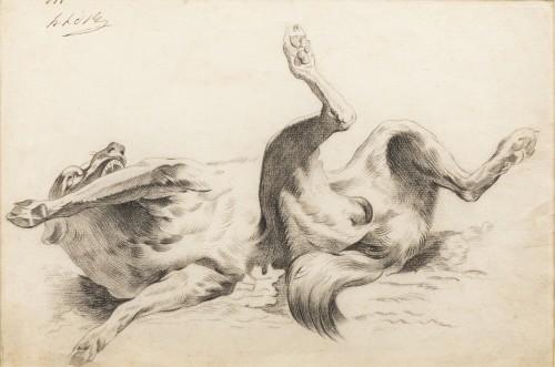 Dog rolling on its back - circle of Alexandre-François Desportes