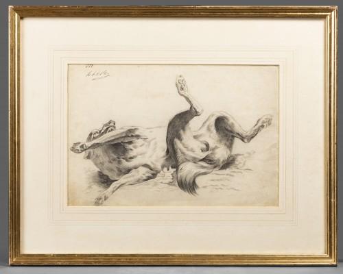 Dog rolling on its back - circle of Alexandre-François Desportes -