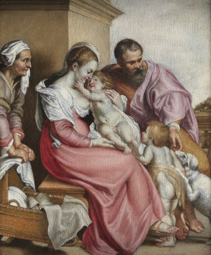 Holy Family with St. Elizabeth and St. John the Baptist – 17th century Fren - Paintings & Drawings Style