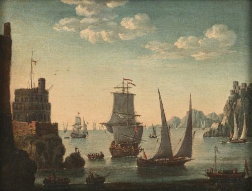 Mediterranean Coastal View - Attributed to Adriaen van der Kabel (1630-1705) - Paintings & Drawings Style Louis XIV