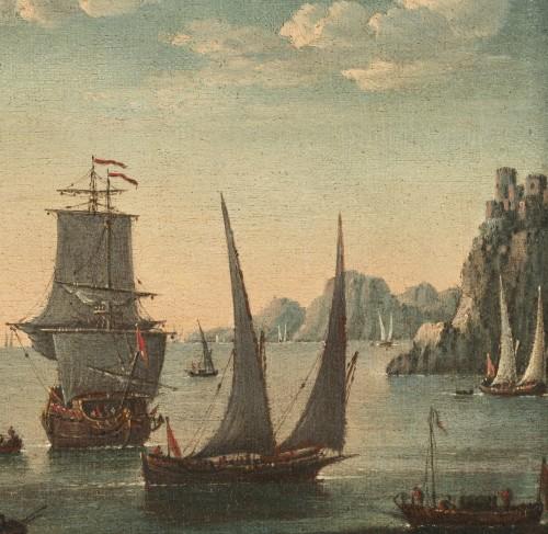 Paintings & Drawings  - Mediterranean Coastal View - Attributed to Adriaen van der Kabel (1630-1705)