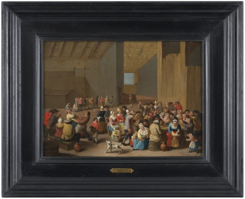 17th century - Peasant rejoicing - signed Mattheus van Helmont (1623 - 1679)
