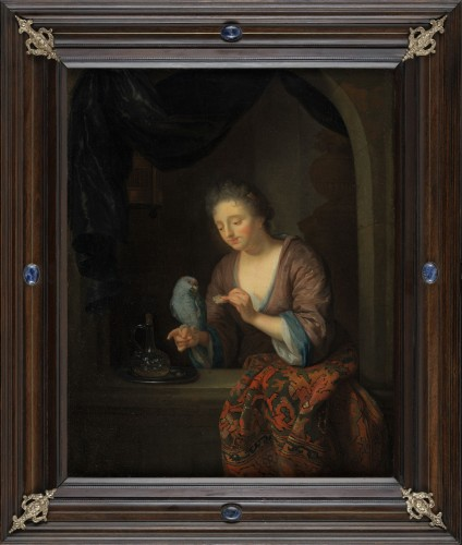 Dame au perroquet – Attribué à Godfried Schalcken (1643 - 1706)