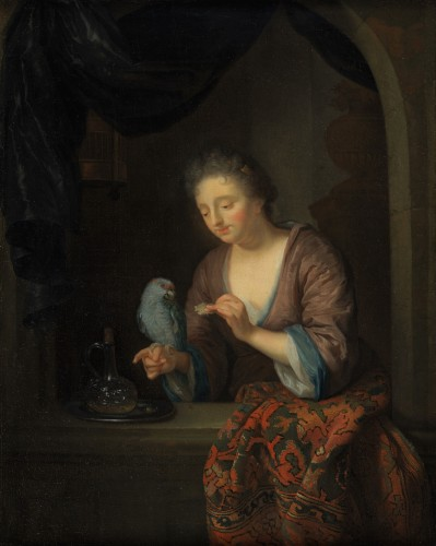 Lady with a Parrot - Attributed to Godfried Schalcken (1643 - 1706) - Paintings & Drawings Style