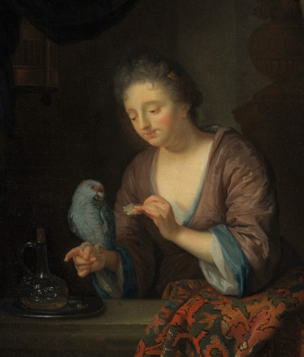 Paintings & Drawings  - Lady with a Parrot - Attributed to Godfried Schalcken (1643 - 1706)