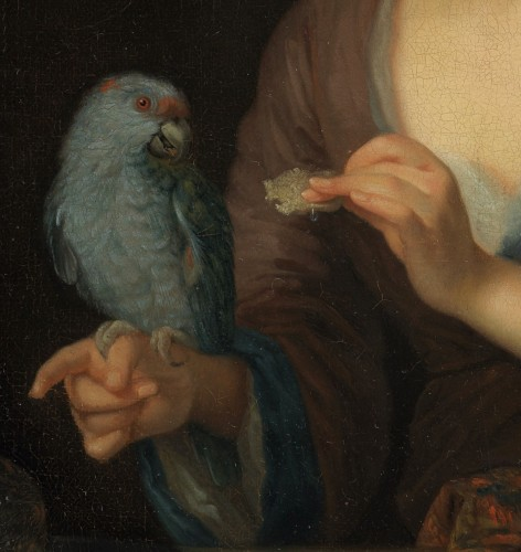 Lady with a Parrot - Attributed to Godfried Schalcken (1643 - 1706) -