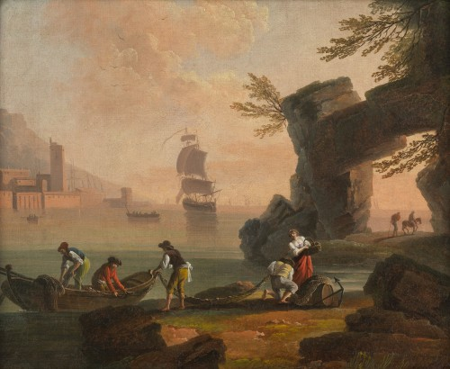 Back from fishing at sunset - School of Joseph Vernet 18th century - Paintings & Drawings Style