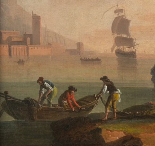Paintings & Drawings  - Back from fishing at sunset - School of Joseph Vernet 18th century