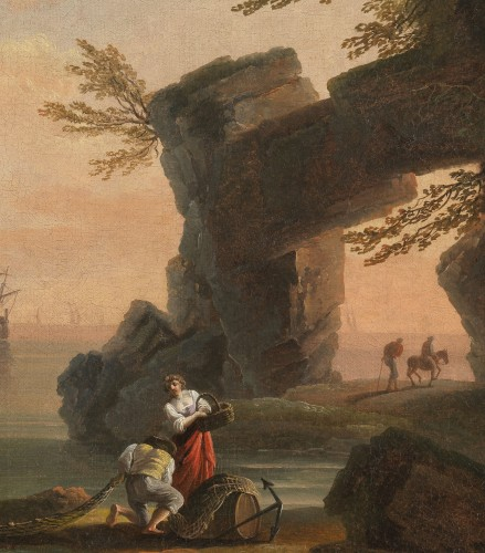 Back from fishing at sunset - School of Joseph Vernet 18th century -