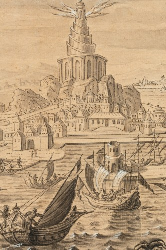 The construction of the Lighthouse of Alexandria - Follower of Marteen van Heemskerck circa 1600 -