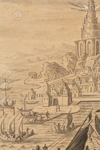 <= 16th century - The construction of the Lighthouse of Alexandria - Follower of Marteen van Heemskerck circa 1600
