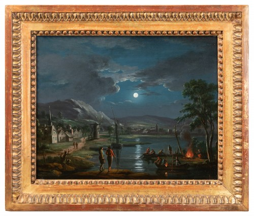 Fishermen in the moonlight - French school around 1800, follower of Simon Mathurin Lantara