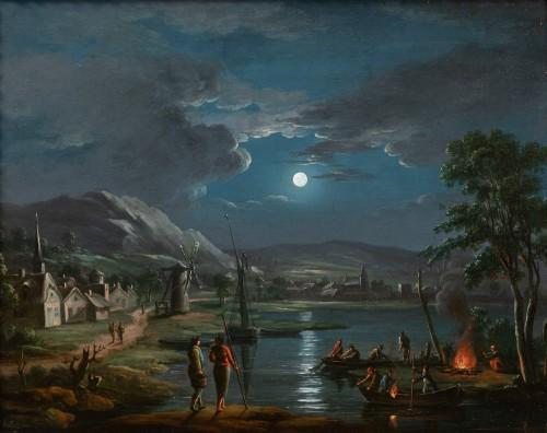 Fishermen in the moonlight - French school around 1800, follower of Simon Mathurin Lantara - Paintings & Drawings Style