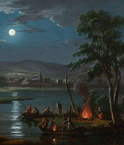 Paintings & Drawings  - Fishermen in the moonlight - French school around 1800, follower of Simon Mathurin Lantara