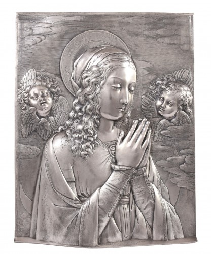 Virgin in prayer high relief in silver - A. Pieroni and P. Casali, Lucca 1857