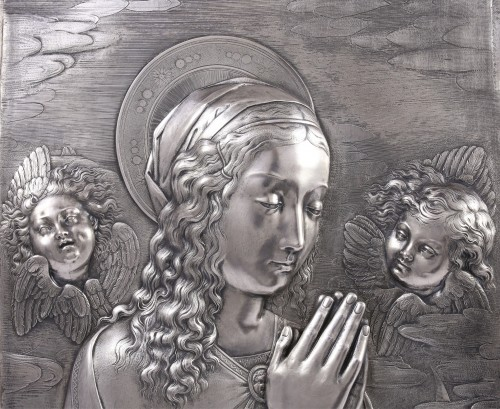 Virgin in prayer high relief in silver - A. Pieroni and P. Casali, Lucca 1857 - Sculpture Style