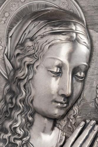Sculpture  - Virgin in prayer high relief in silver - A. Pieroni and P. Casali, Lucca 1857