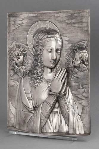 Antiquités - Virgin in prayer high relief in silver - A. Pieroni and P. Casali, Lucca 1857