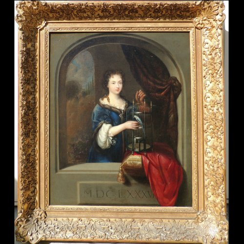 Lady with parrot - painting Attributed to Willem van Mieris