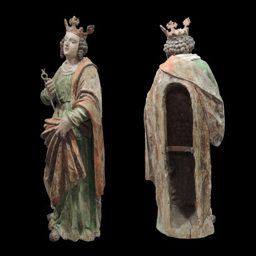Saint Apollonia - Statue polychromed lime tree - Upper Swabia 16th century - Religious Antiques Style Renaissance
