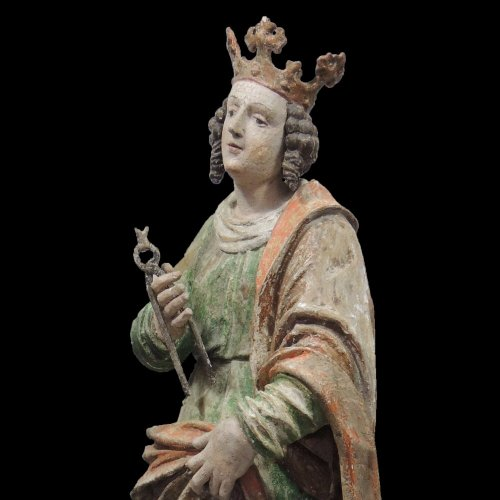 Religious Antiques  - Saint Apollonia - Statue polychromed lime tree - Upper Swabia 16th century
