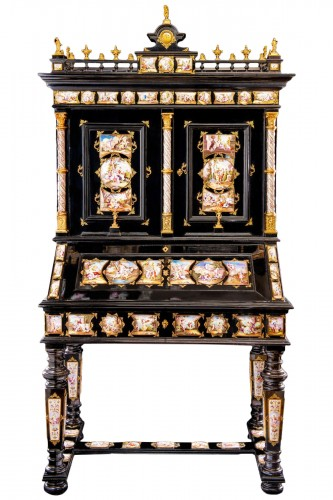Exceptional Viennese gilt-metal and enamel-mounted ebonized Secretaire-Cabi