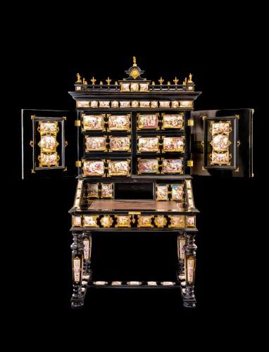 Viennese gilt-metal and enamel-mounted ebonized Secretaire-Cabinet -Herman Boehm - Furniture Style Napoléon III