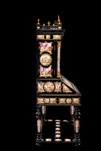 Furniture  - Viennese gilt-metal and enamel-mounted ebonized Secretaire-Cabinet -Herman Boehm