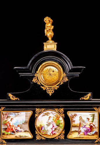 19th century - Viennese gilt-metal and enamel-mounted ebonized Secretaire-Cabinet -Herman Boehm