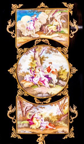 Viennese gilt-metal and enamel-mounted ebonized Secretaire-Cabinet -Herman Boehm - Napoléon III