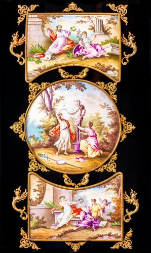 Napoléon III - Viennese gilt-metal and enamel-mounted ebonized Secretaire-Cabinet -Herman Boehm