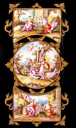 Antiquités - Viennese gilt-metal and enamel-mounted ebonized Secretaire-Cabinet -Herman Boehm