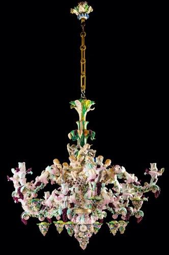 Exceptional Meissen porcelain chandelier with cherubs made in the 19th c. - Napoléon III