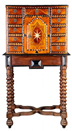 17th century cabinet in marquetry