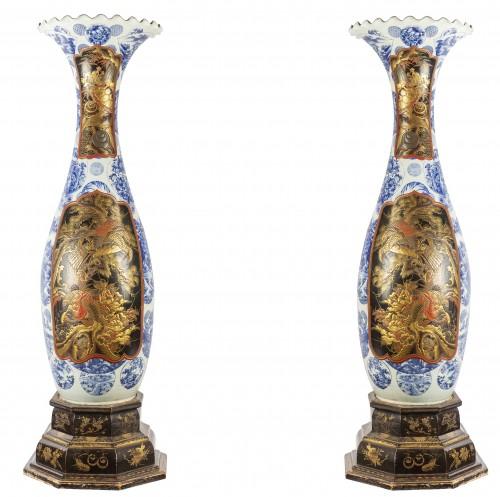 Pair of Japanese vases in Imari Arita porcelain - Porcelain & Faience Style