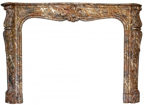 Large polychrome marble fireplace in Louis XV style