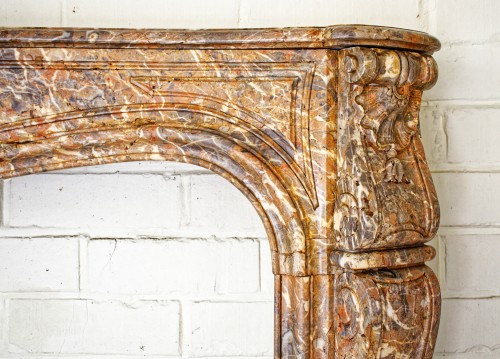 19th century - Large polychrome marble fireplace in Louis XV style