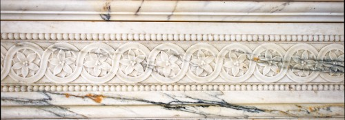 19th century - Louis XVI style fireplace in Arabescato marble from the late 19th century