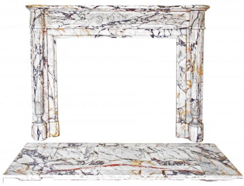Louis XVI style fireplace in Panazeau marble made in the late 19th century