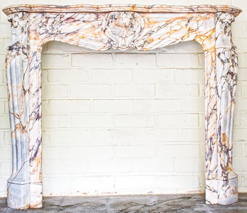 Large Panazeau marble fireplace in the Louis XV style -